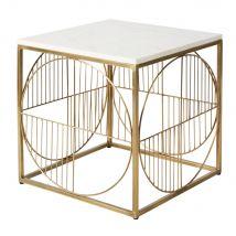 Tavolino da divano in metallo dorato anticato e marmo bianco - Bianco - 41x42x41cm - Maisons du Monde