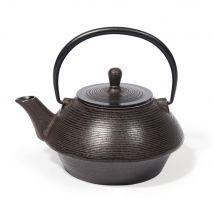 Teekanne aus Gusseisen, braun geriffelt - 19x14x0cm - Maisons du Monde