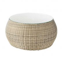 Tempered glass and wicker garden coffee table W 92cm St Raphaël - 92x45x92cm - Maisons du Monde