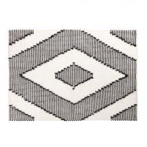 Teppich aus gewebter Baumwolle in Ecru und Schwarz mit grafischen Motiven 140x200 - 140x200x2cm - Maisons du Monde