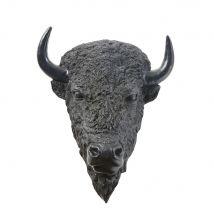 Wandtrophäe Bisonkopf, schwarz 50x61 - 49.5x60.5x32cm - Maisons du Monde