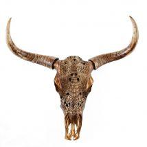 Wandtrophäe geschnitzter Büffelkopf, braun, H73 - 73x73x20cm - Maisons du Monde