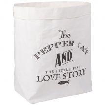 White Paper Cat Tidy Storage Bag with Black Print - 30x40x20cm - Maisons du Monde