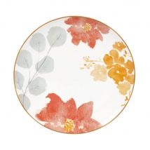 White Porcelain Dessert Plate with Yellow, Pink and Grey Floral Print (20.3x2.3x20.3cm) - Maisons du Monde