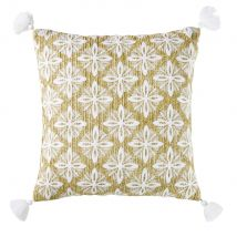 Woven Outdoor Cushion With Embroidered Graphic Design In Beige (45 x 45 x 10cm) - Maisons du Monde