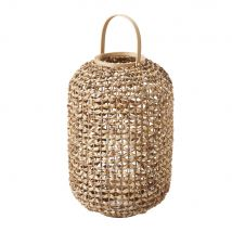 Woven Water Hyacinth and Glass Lantern - 40x61x40cm - Maisons du Monde