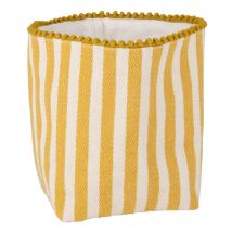 Yellow and White Cotton Bread Basket with Striped Print - 15x20x15cm - Maisons du Monde