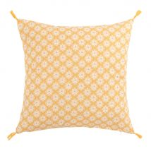 Set of 2 : Yellow Cotton Cushion Cover with Graphic Pattern 40x40 - Yellow - 40x40x0cm - Maisons Du Monde