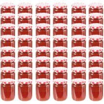 Glass Jam Jars with White and Red Lid 48 pcs 230 ml