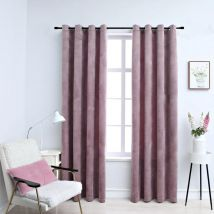 Hommoo Blackout Curtains with Rings 2pcs Velvet Antique Pink 140x175cm