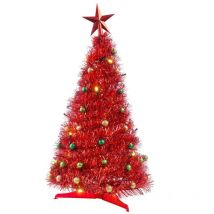Pop Up Tinsel Table Tree - Complete with Lights and Baubles - Red