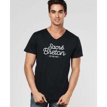 T-Shirt homme Sacré breton Col V Noir taille L