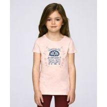 T-Shirt enfant Quand Papa dit non Rose chiné taille 5 - 6 ans
