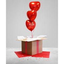 Ballon surprise 3 ballons coeur Rouge taille TU