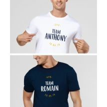 T-Shirt homme EVG personnalisé Col V Blanc taille XXL