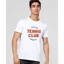 T-Shirt homme Trou dans la raquette Col rond Blanc taille M