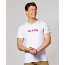 T-Shirt homme Le king Col rond Blanc chiné taille XXL