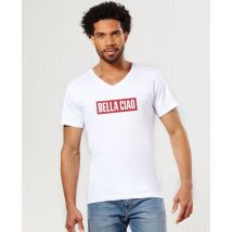 T-Shirt homme Bella Ciao (effet velours) Col V Blanc taille L