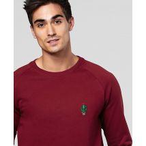 Sweatshirt homme Cactus pot (brodé) Rouge Bordeaux taille XL