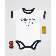 Body Telle mère tel fils Blanc et bords marine taille 3 - 6 mois $Monsieur T-Shirt Kids