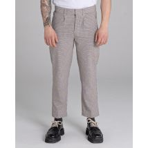 Piazza Houndstooth Check Tailored Unisex Trouser   Mushroom, 30 Inch Waist