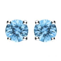 18ct White Gold Aquamarine Claw Set Solitaire Stud Earrings