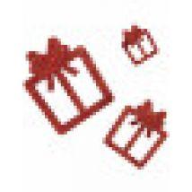 6 glitzernde Deko-Geschenke rot