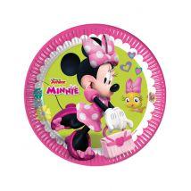 8 Piattini di carta Happy Minnie
