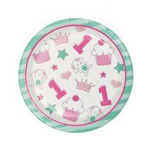 8 Petites assiettes en carton 1er anniversaire rose 18 cm - Couleur Rose