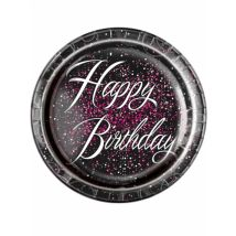 8 Assiettes en carton Happy Birthday confettis roses 23 cm
