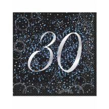 16 Serviettes 30 ans en papier Happy Birthday confettis bleus 33 x 33 cm