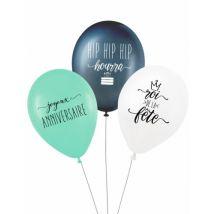 3 Ballons latex biodégradable Roi de la fête 27 cm