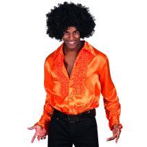 Camicia stile disco arancione da uomo