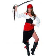 Costume pirata nero rosso e bianco da donna
