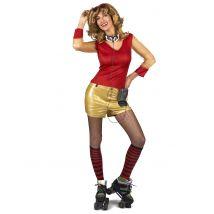 Costume anni '80 rosso e oro da donna