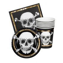 Kit coordinati tavola usa e getta pirati nero e oro