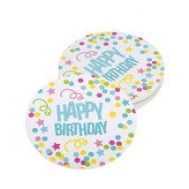 6 sottobicchieri Happy Birthday coriandoli pastello