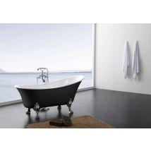 Baignoire sur pieds en acrylique Paris 176x71cm, noir, avec robinetter