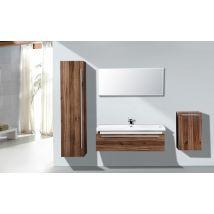 Mobile da bagno sospeso N1200 invers- noce - specchio e colonna sospesa opzionali
