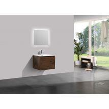 Meuble salle de bain Alice 600 aspect bois foncé - Miroir en option