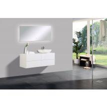 Ensemble de salle de bain Milou 1200 blanc mat - miroir et vasque en o