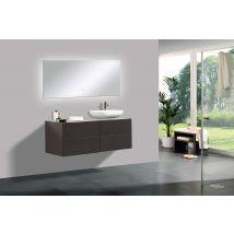 Ensemble de salle de bain Milou 1200 marron gris mat - miroir et vasqu
