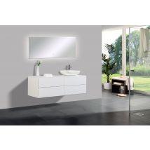 Mobile da bagno Milou 1400 bianco opaco - specchio e lavabo opzionali