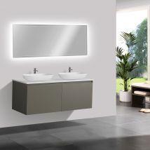 Meuble pour la salle de bain Luna 1200 en gris mat avec plan vasque -