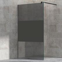 Paroi de douche à l'italienne - nano protection - 8mm - EX101 noir -