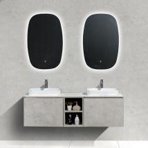 Mobile da bagno sospeso INALCO 1500 effetto cemento - Specchio LED opzionale