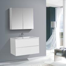 Mobile bagno EDGE 750 - disponibile in diversi colori - armadietto a specchio e colonna sospesa opzionale
