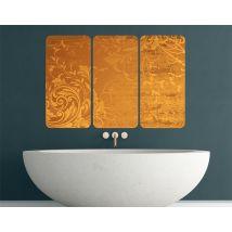 Selbstklebendes Wandbild Goldene Flora Triptychon I