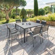 Table de jardin Aluminium Piazza (136 x 136 cm) - Gris anthracite - Table de jardin