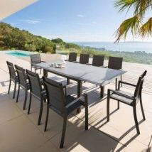 Table de jardin extensible HPL Allure (254 x 115 cm) - Graphite - Table de jardin